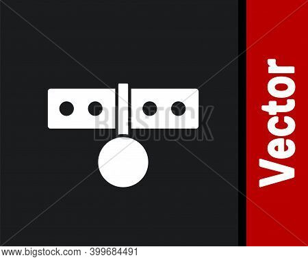 White Collar With Name Tag Icon Isolated On Black Background. Simple Supplies For Domestic Animal. C