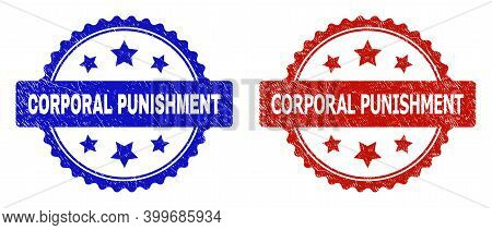 Rosette Corporal Punishment Watermarks. Flat Vector Scratched Seal Stamps With Corporal Punishment T