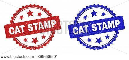 Rosette Cat Stamp Stamps. Flat Vector Grunge Seal Stamps With Cat Stamp Text Inside Rosette With Sta