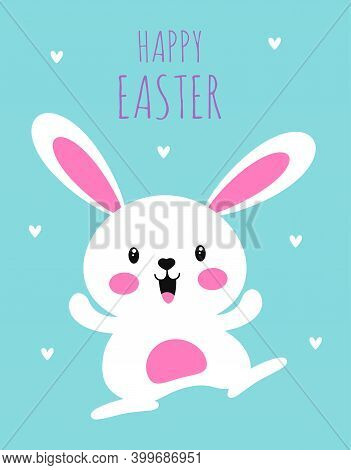 Easter Card With White Rabbit Dancing, Cute Bunny, Happy Easter Day, Cartoon Character Design, Vecto