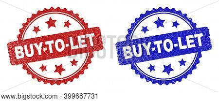 Rosette Buy-to-let Watermarks. Flat Vector Grunge Stamps With Buy-to-let Caption Inside Rosette With
