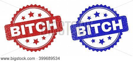 Rosette Bitch Seal Stamps. Flat Vector Textured Seal Stamps With Bitch Title Inside Rosette Shape Wi