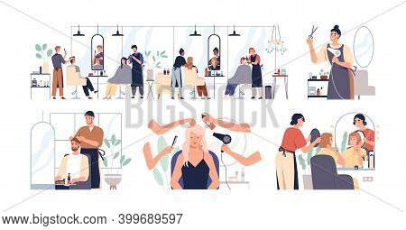 Set Of Hairdressers And Barbers Working With Clients In Hairdressing Salon. Hairstylists Doing Hairc