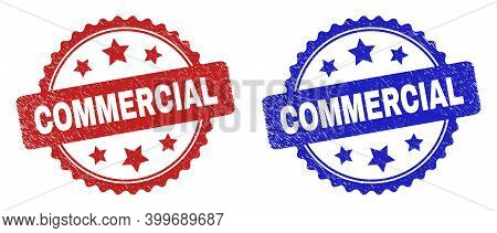 Rosette Commercial Seal Stamps. Flat Vector Distress Stamps With Commercial Text Inside Rosette Shap