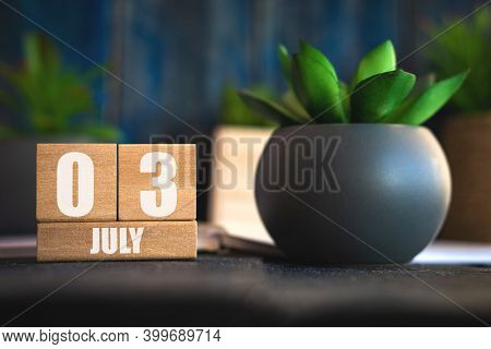 July 3rd. Day 3 Of Month, Cube Calendar With Date And Pot With Succulent Placed On Table At Home Sim