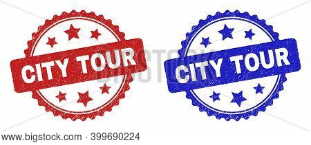 Rosette City Tour Seal Stamps. Flat Vector Distress Seal Stamps With City Tour Text Inside Rosette W