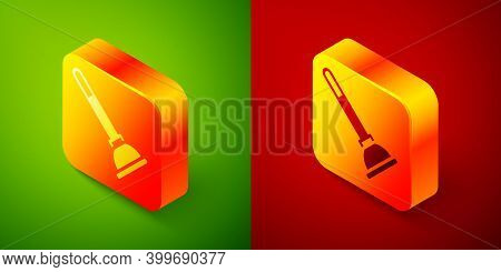Isometric Rubber Plunger With Wooden Handle For Pipe Cleaning Icon Isolated On Green And Red Backgro