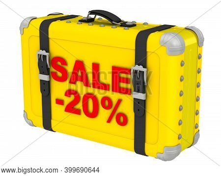 Sale -20%. The Inscription On A Yellow Suitcase. Yellow Suitcase With Red Labeled Sale -20%. Isolate