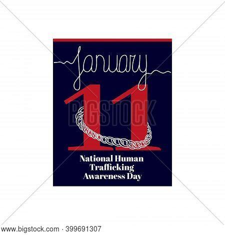 Calendar Sheet, Vector Illustration On The Theme Of National Human Trafficking Awareness Day On Janu
