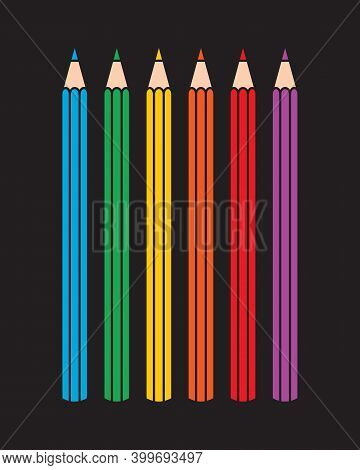 Pencil vector icon. Color pen symbol. Write, draw or sketch sign. Crayon logo. Silhouette isolated on black background.