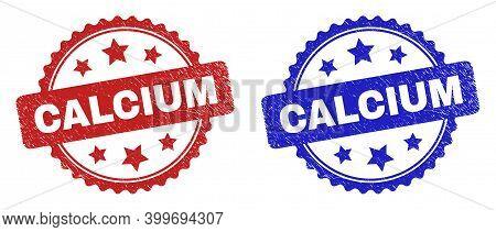 Rosette Calcium Seal Stamps. Flat Vector Scratched Seal Stamps With Calcium Title Inside Rosette Sha