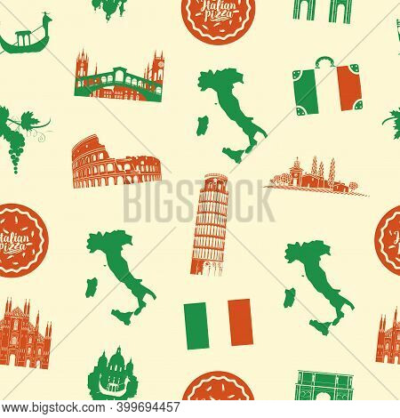 Seamless Pattern On The Theme Of Italy With Italian Symbols, Architectural Landmarks, Pizza And A Ma