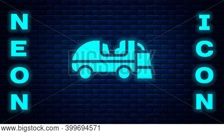 Glowing Neon Ice Resurfacer Icon Isolated On Brick Wall Background. Ice Resurfacing Machine On Rink.