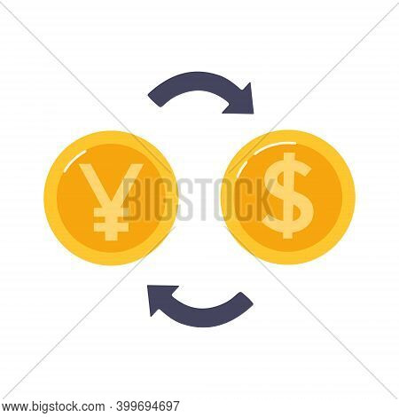 Exchange Chinese Yuan To Dollar. Gold Coins And Arrows Between Them. .currency Exchange Exchange. Ve