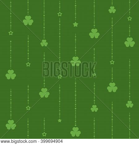 Seamless Shamrock Ornament With Green Beads Of Dots And Clover Leaves On Dark Green Background.