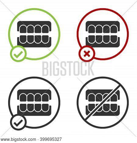 Black False Jaw Icon Isolated On White Background. Dental Jaw Or Dentures, False Teeth With Incisors