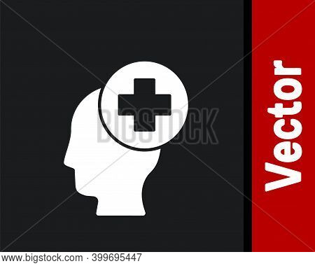 White Male Head With Hospital Icon Isolated On Black Background. Head With Mental Health, Healthcare