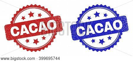 Rosette Cacao Seals. Flat Vector Scratched Seals With Cacao Phrase Inside Rosette Shape With Stars,