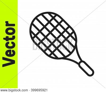 Black Line Tennis Racket Icon Isolated On White Background. Sport Equipment. Vector Illustration