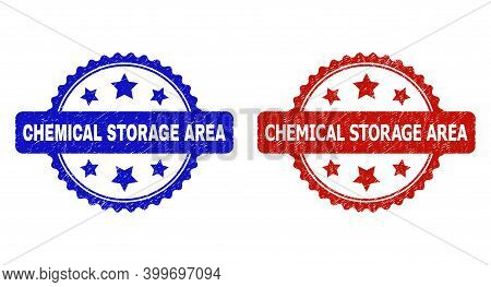 Rosette Chemical Storage Area Seal Stamps. Flat Vector Textured Seal Stamps With Chemical Storage Ar