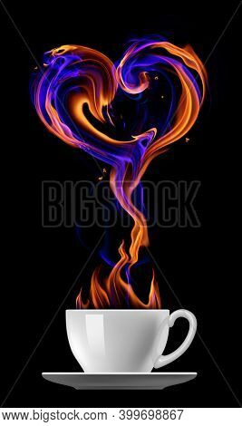 Fire heart symbol and a white cup isolated on black background. 3D illustration.