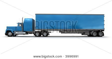 Side View Of A Big Blue Trailer Truck