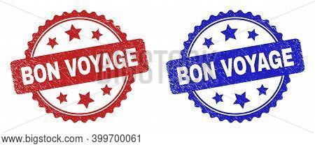 Rosette Bon Voyage Seals. Flat Vector Distress Seals With Bon Voyage Message Inside Rosette Shape Wi