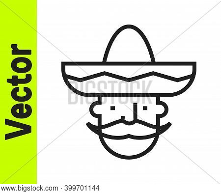 Black Line Mexican Man Wearing Sombrero Icon Isolated On White Background. Hispanic Man With A Musta