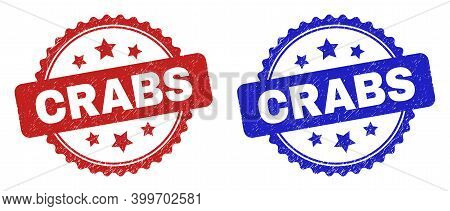 Rosette Crabs Stamps. Flat Vector Scratched Stamps With Crabs Phrase Inside Rosette Shape With Stars