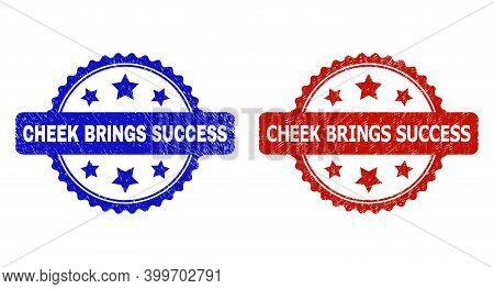 Rosette Cheek Brings Success Stamps. Flat Vector Scratched Stamps With Cheek Brings Success Title In