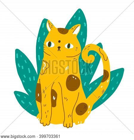 Funny Cartoon Cat Sit In Jungle Leaves. Modern Flat Style Pet Vector Illustration