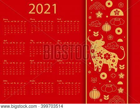 2021 Wall Calendar Template With Asian Style Ox. Chinese New Year Design With Decorated Cow Bull Cha
