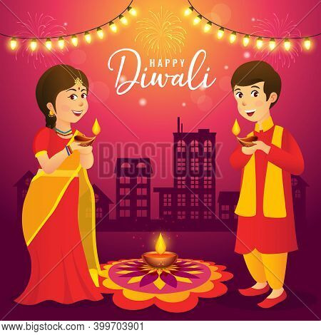 Cute Cartoon Indian Kids Celebrating The Festival Of Lights Diwali