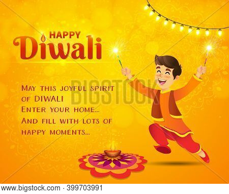 Happy Diwali Greeting Card. Cute Cartoon Indian Boy In Traditional Clothes Jumping And Playing With