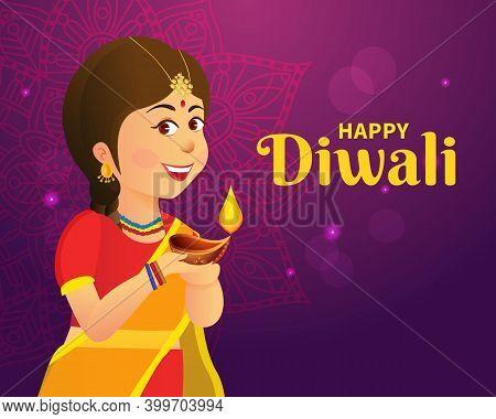 Cute Carton Indian Girl Holding Diya (india Oil Lamp) And Wishing Everyone A Happy Diwali Festival