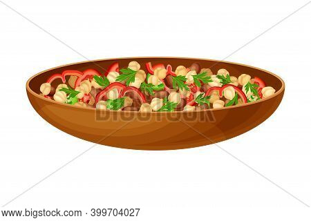 Salad With Chickpea, Fava Beans And Pepper As Syrian Cuisine Dish Vector Illustration