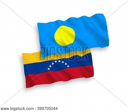 National Fabric Wave Flags Of Venezuela And Palau Isolated On White Background. 1 To 2 Proportion. 3