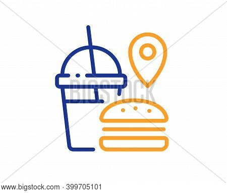 Food Delivery Line Icon. Meal Order Location Sign. Fast Food Symbol. Quality Design Element. Line St