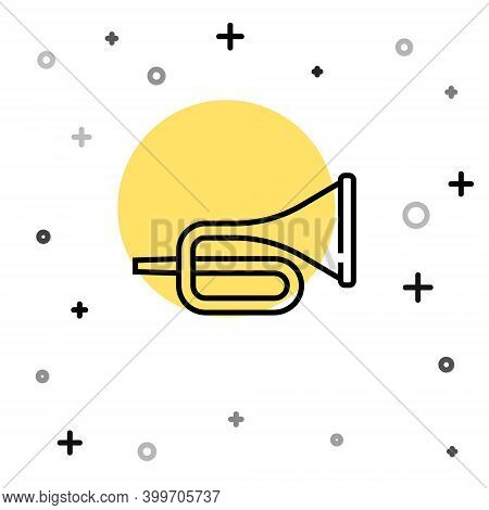 Black Line Musical Instrument Trumpet Icon Isolated On White Background. Random Dynamic Shapes. Vect