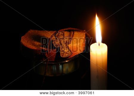 Burning Candle, Rood, Glass With Water And Breads