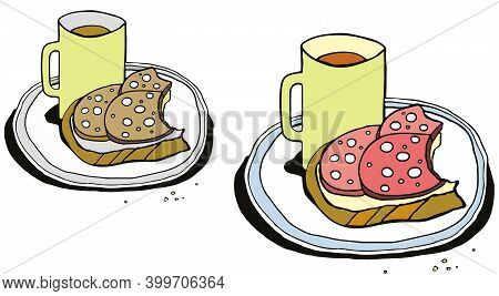 Breakfast Is Tasty And Not Tasty. A Mug Of Coffee And Nibbled Sausage Sandwiches. Humor. Vector Illu
