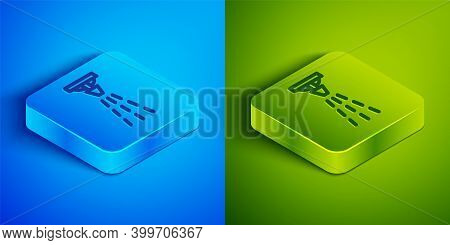 Isometric Line Fire Sprinkler System Icon Isolated On Blue And Green Background. Sprinkler, Fire Ext