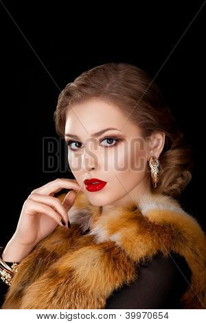 Beautiful Woman In Coat With Fox Fur Collar - Opera Cloak. Holidays