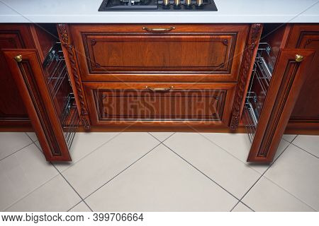 Pull Out Rack Cabinet Filler Pantry. Two Vertical Drawers Shelf Under Countertop With Wooden Panel A