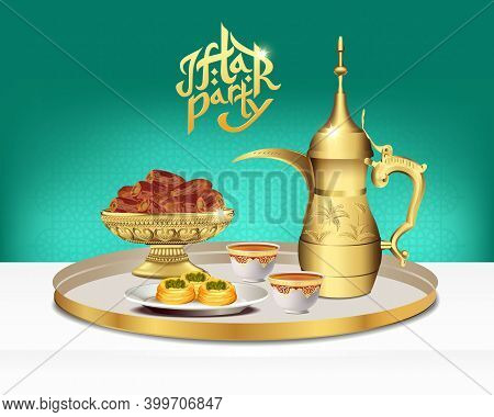 Arabic Tea Set With Bowl Of Dates. Ramadan Iftar Party Food. 3D Vector Illustration