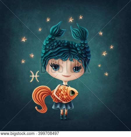 Illustration of a cute Pisces Girl