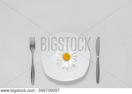 One Chamomile Flower On Plate, Cutlery Fork And Knife On Grey Background Concept Vegetarian Healthy