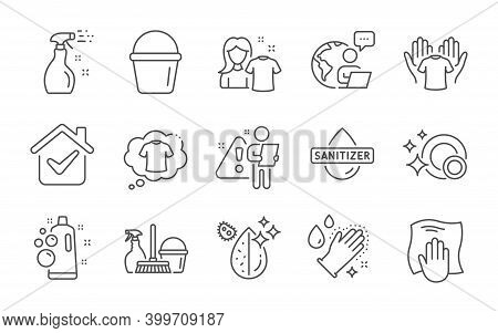 Clean Bubbles, Hand Sanitizer And Bucket Line Icons Set. Washing Cloth, T-shirt And Washing Hands Si