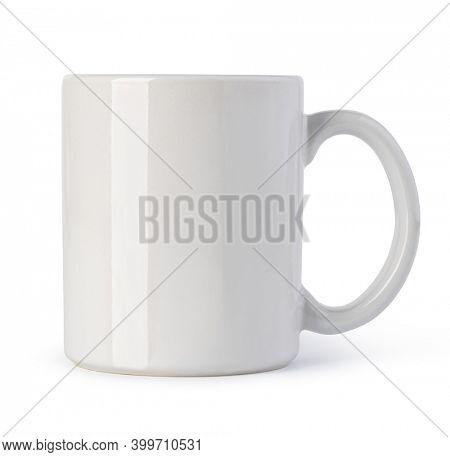 White ceramic mug. Isolated on a white background