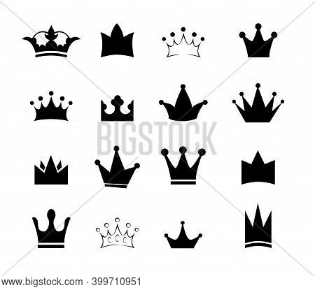 Set Black Sign Crown. Design Modern Logos King Crown For Business.